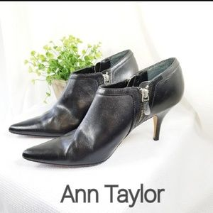 Ann Taylor 8.5 Leather Booties Double Zippers 3110